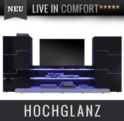 neu stylische wohnwand hochglanz schwarz lack led. Black Bedroom Furniture Sets. Home Design Ideas
