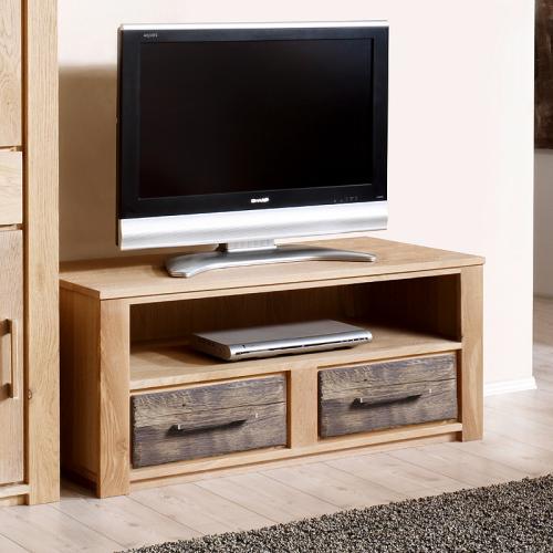 lowboard wildeiche massiv altholz 122cm kommode fernsehtisch tv schrank ebay. Black Bedroom Furniture Sets. Home Design Ideas