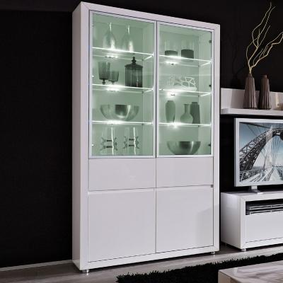 neu standvitrine hochglanz wei led highboard buffet. Black Bedroom Furniture Sets. Home Design Ideas