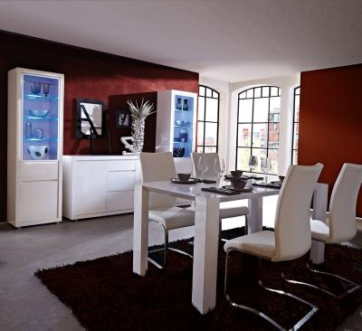 4 tlg esszimmer set hochglanz wei inkl 190cm esstisch. Black Bedroom Furniture Sets. Home Design Ideas