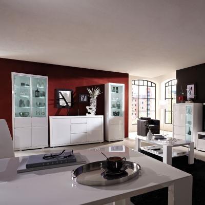 top* 5tlg wohnzimmer komplett set schrankwand anbauwand hochglanz ... - Wohnzimmer Komplett Weis