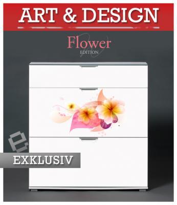 Exklusiv design hochglanz schuhschrank flower yellow for Schuhkipper design