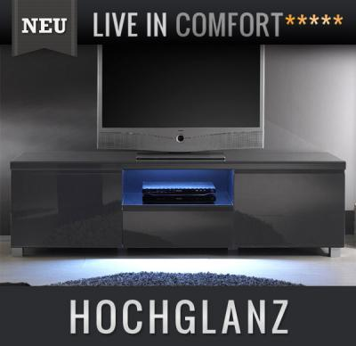 neu lowboard hochglanz anthrazit led tv lcd kommode. Black Bedroom Furniture Sets. Home Design Ideas