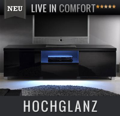 neu lowboard in hochglanz schwarz led tv lcd kommode sideboard fernsehtisch ebay. Black Bedroom Furniture Sets. Home Design Ideas