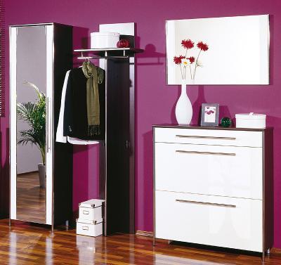 neu 4 tlg garderoben set wenge wei chrom kleiderschrank schuhschrank garderobe ebay. Black Bedroom Furniture Sets. Home Design Ideas