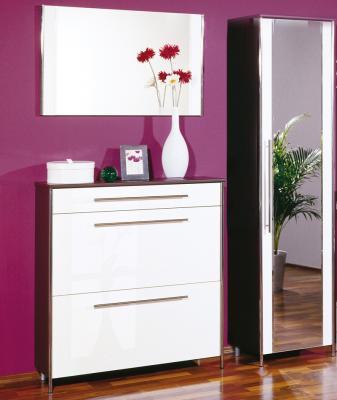 neu 3 tlg garderoben set wenge wei chrom schuhschrank kleiderschrank garderobe ebay. Black Bedroom Furniture Sets. Home Design Ideas