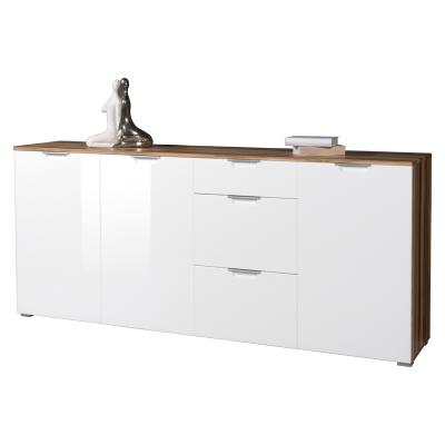 top sideboard hochglanz weiss baltimore walnuss kommode esszimmer anrichte ebay. Black Bedroom Furniture Sets. Home Design Ideas
