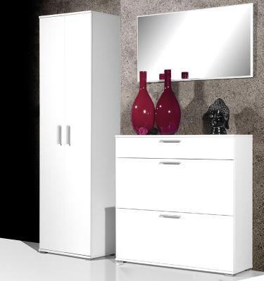 top 3 tlg flurgarderobe wei kleiderschrank schuhschrank. Black Bedroom Furniture Sets. Home Design Ideas