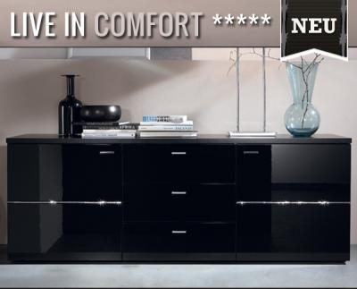 neu sideboard hochglanz schwarz highboard anrichte kommode swarovski elements ebay. Black Bedroom Furniture Sets. Home Design Ideas
