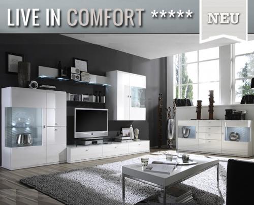 top*6tlg wohnwand & sideboard hochglanz weiß montiert,