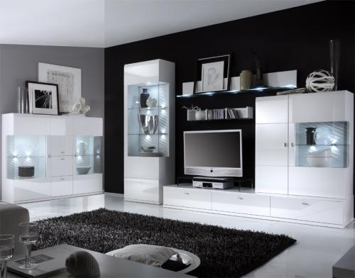 moderne wohnwand in hochglanz wei wohnzimmer schrankwand highboard anbauwand ebay. Black Bedroom Furniture Sets. Home Design Ideas