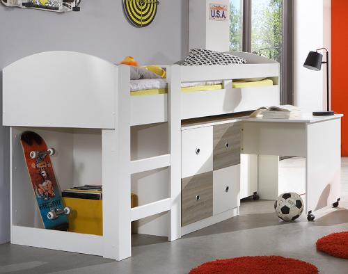 neu hochbett mit schreibtisch kommode wei eiche s gerau kinderbett jugendbett ebay. Black Bedroom Furniture Sets. Home Design Ideas