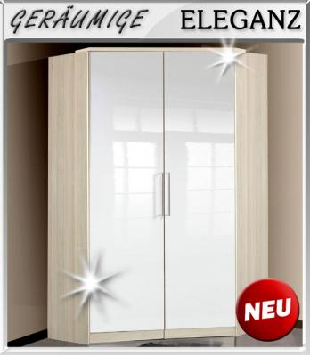 neu eckkleiderschrank hochglanz wei esche kleiderschrank schlafzimmerschrank ebay. Black Bedroom Furniture Sets. Home Design Ideas