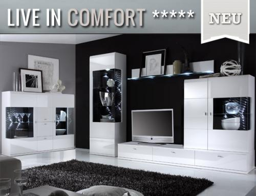 neu wohnwand mit highboard hochglanz wei montiert vitrine wohnzimmer anbauwand ebay. Black Bedroom Furniture Sets. Home Design Ideas