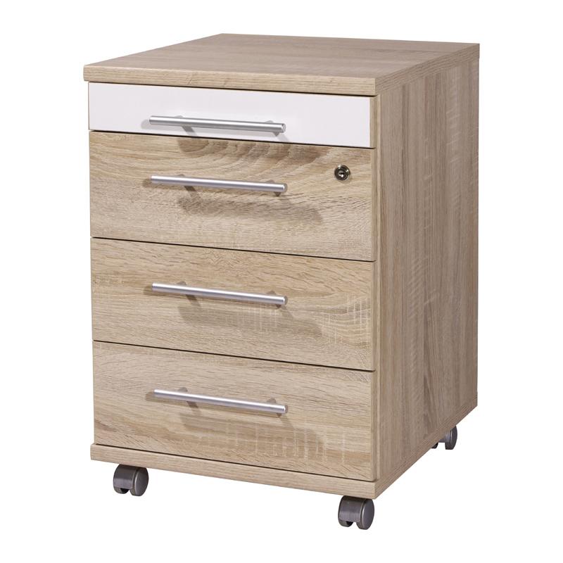 rollcontainer eiche sonoma hochglanz wei b rom bel b ro. Black Bedroom Furniture Sets. Home Design Ideas