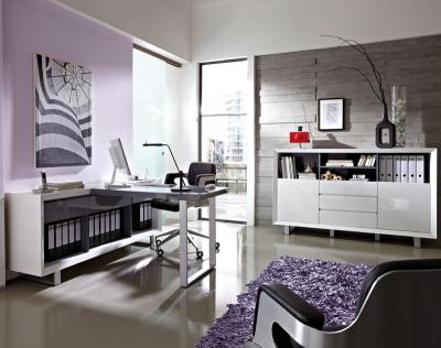 neu design b rom bel set hochglanz wei chefb ro. Black Bedroom Furniture Sets. Home Design Ideas