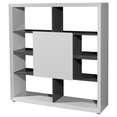 Büromöbel weiss grau  NEU* Design Regal in Hochglanz weiß - grau Aktenregal Büroregal ...