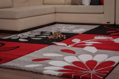 Teppich schwarz rot  Design Webteppich 160x230cm Teppich schwarz rot floral ...