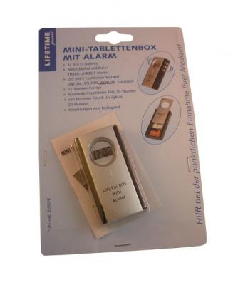 mini design pillenbox mit alarm pillen tabletten box uhrzeit dose pillendose ebay. Black Bedroom Furniture Sets. Home Design Ideas