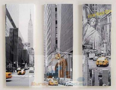3 gro e wandbilder auf keilrahmen new york bilder set. Black Bedroom Furniture Sets. Home Design Ideas
