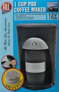 1 tassen pad kaffeemaschine 12 v 170 w reise kfz auto. Black Bedroom Furniture Sets. Home Design Ideas