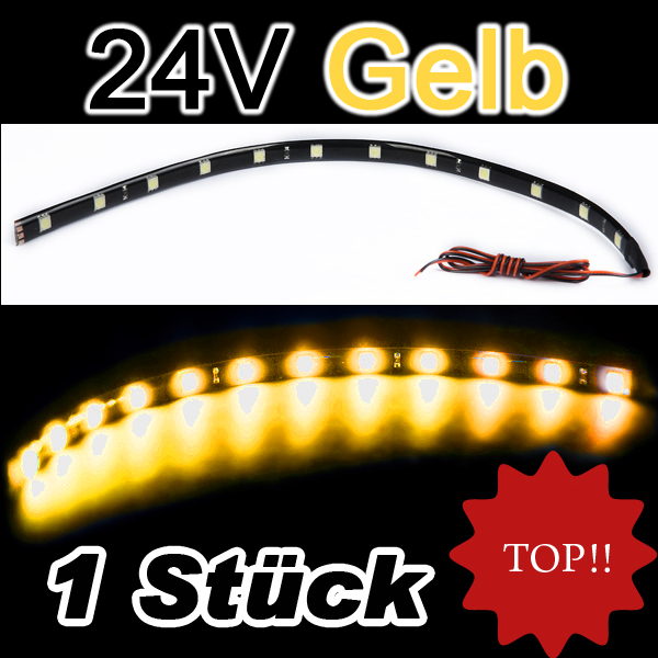 24volt gelb orange smd led 5050 leiste strip 24v lichtleiste selbstklebend ebay. Black Bedroom Furniture Sets. Home Design Ideas