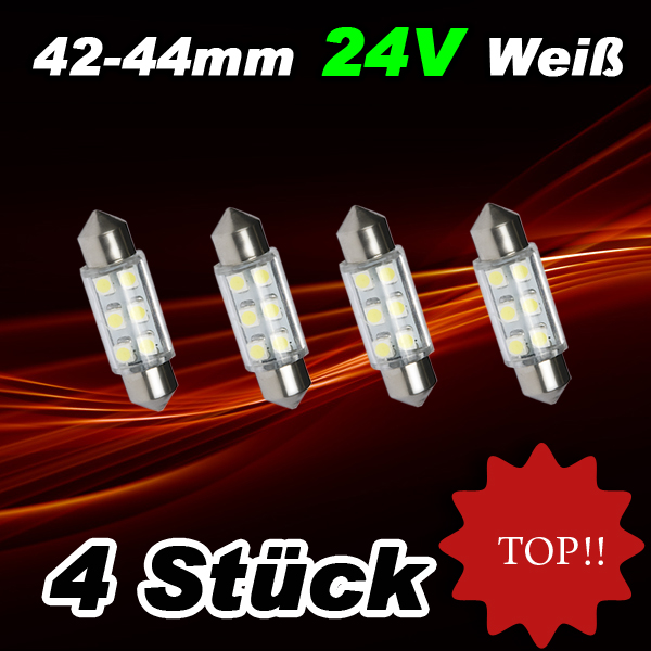 4 st ck 6smd led soffitten 42mm 24volt smd soffitte lampe. Black Bedroom Furniture Sets. Home Design Ideas