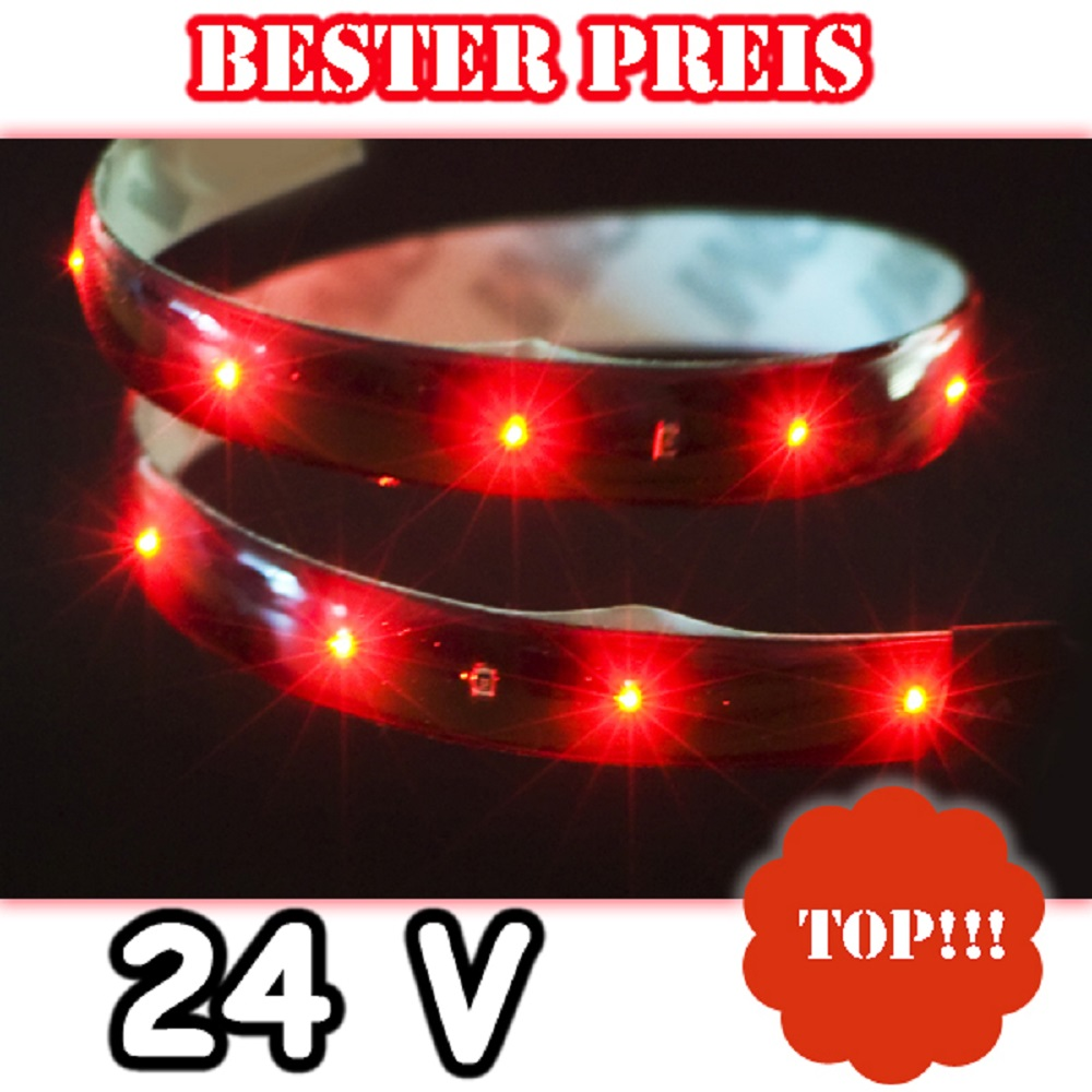 24 volt rot roter smd led streifen lichtleiste strip 24v lkw selbstklebend band ebay. Black Bedroom Furniture Sets. Home Design Ideas