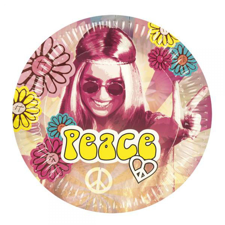 Hippie Party Mottoparty Deko Dekoration 6 Pappteller