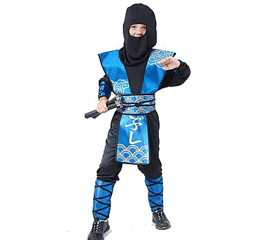 ninja samurai blau schwarz faschingskost m 1556 ebay. Black Bedroom Furniture Sets. Home Design Ideas