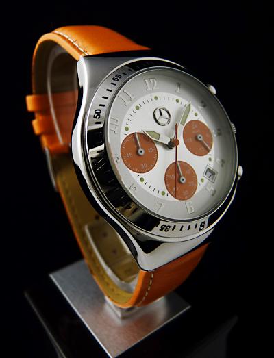 mercedes benz drivers line orange chronograph herren uhr. Black Bedroom Furniture Sets. Home Design Ideas