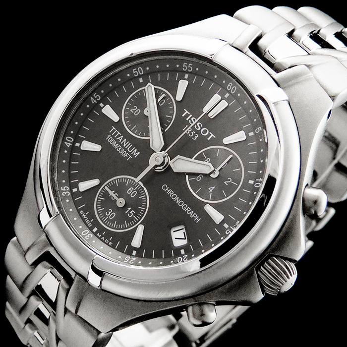 tissot full titanium sub second sport chronograph herren uhr t675 saphir date ebay. Black Bedroom Furniture Sets. Home Design Ideas