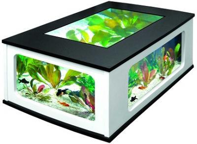 Aquatable 130 schwarz wei aquarium als wohnzimmertisch ebay for Wohnzimmertisch usb