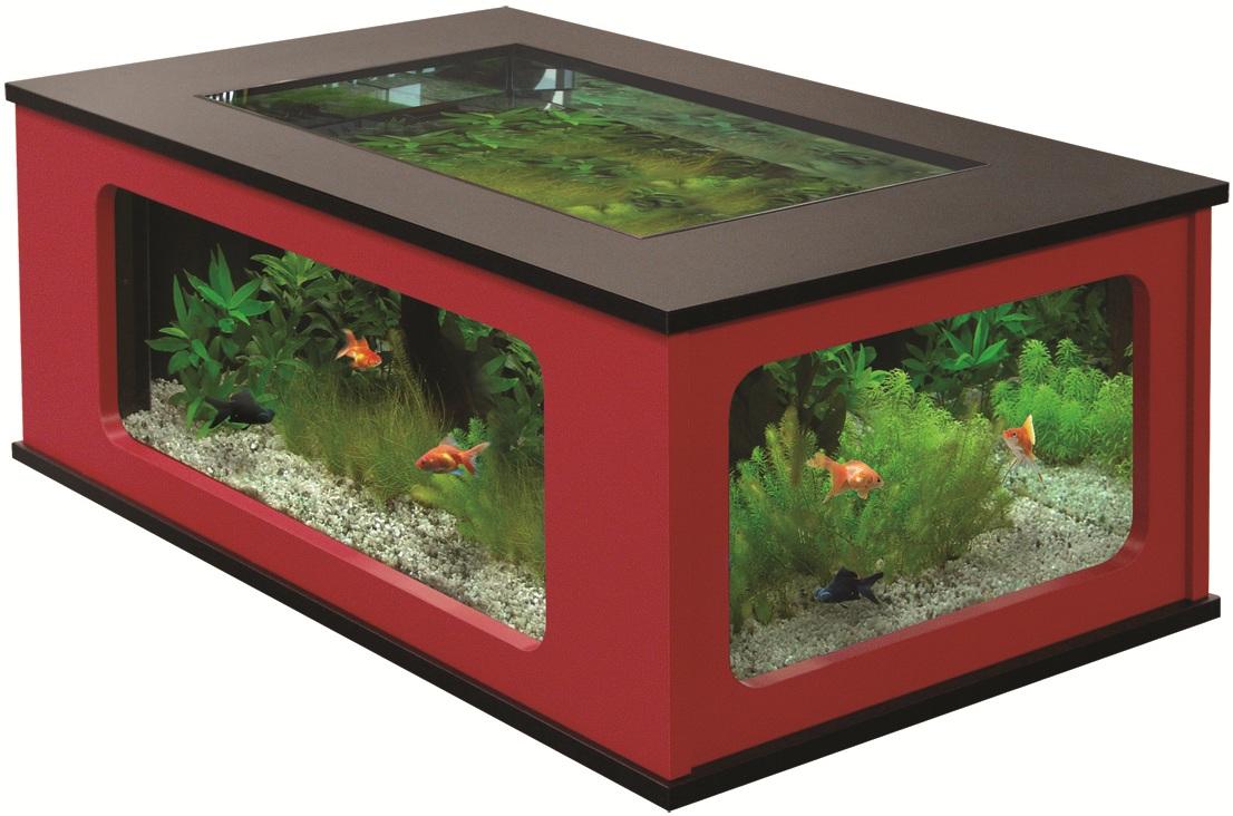 Aquatable 130 schwarz rot aquarium als wohnzimmertisch ebay for Aquarium wohnzimmertisch