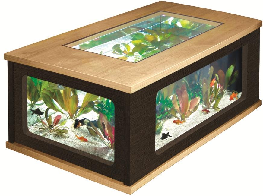 Aquatable 130 Eiche Creme Nussbaum Aquarium Als Wohnzimmertisch