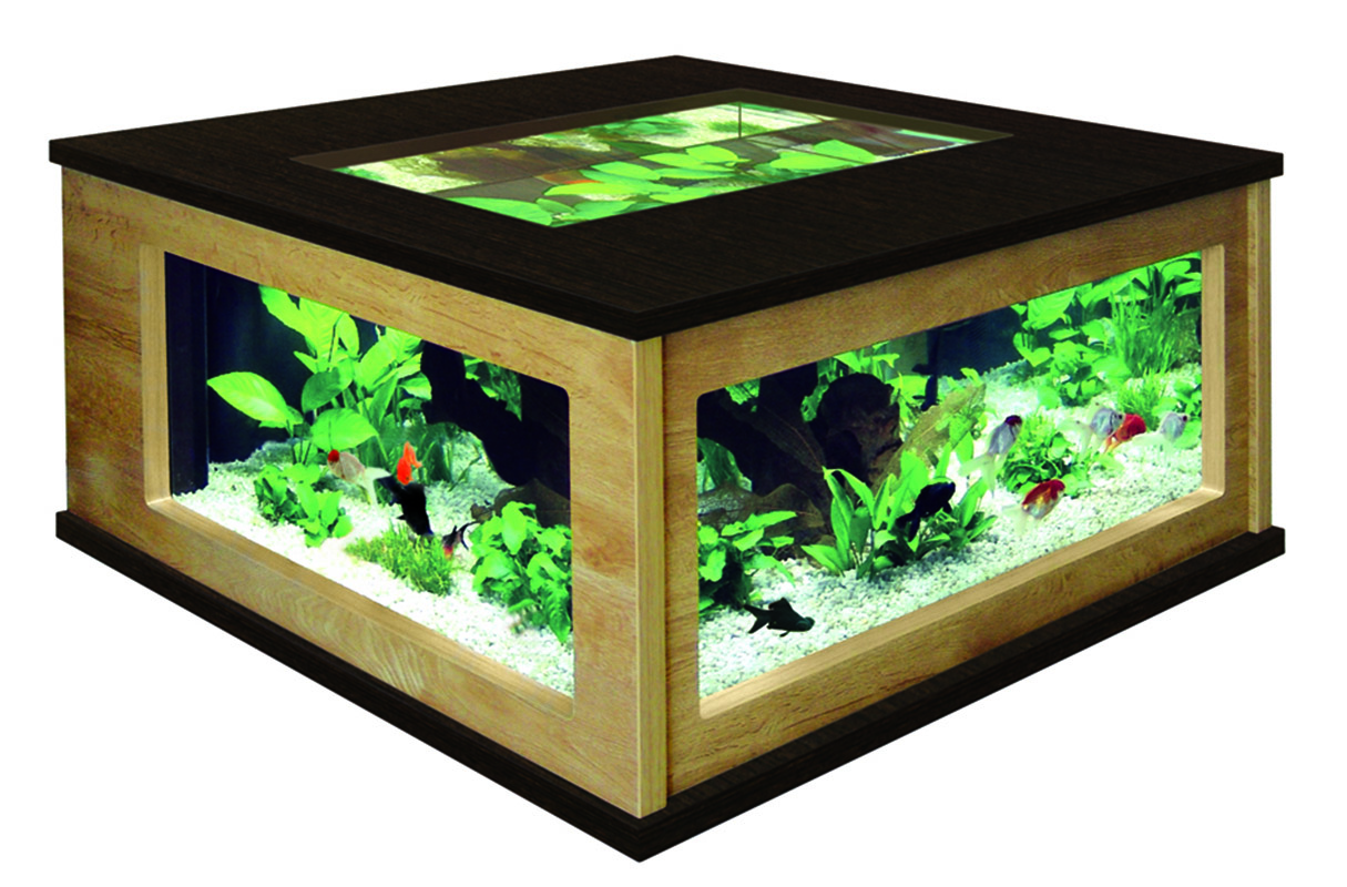aquatlantis aquatable 100 x 100 quadtratisches wohnzimmertisch aquarium 310liter ebay. Black Bedroom Furniture Sets. Home Design Ideas