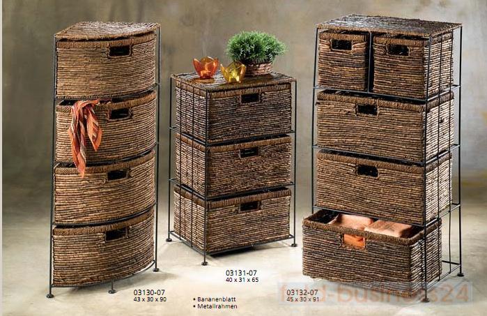 eckregal mit 4 schubf chern braun bananengeflecht ebay. Black Bedroom Furniture Sets. Home Design Ideas