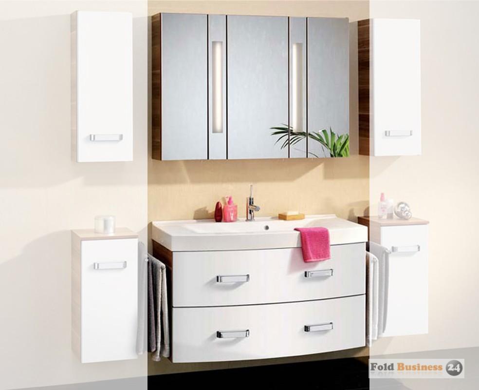 badm bel fackelmann arte 7 wei zetschge set 3 teilig mit spiegelschrank 3 t ren ebay. Black Bedroom Furniture Sets. Home Design Ideas