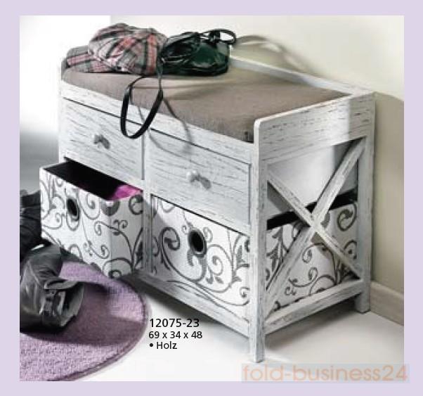 sitztruhe sitzbank aus holz mit 4 schubladen w schekorb ebay. Black Bedroom Furniture Sets. Home Design Ideas