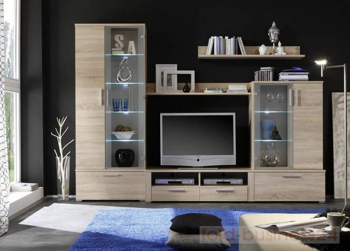 wohnwand mit led beleuchtung sonoma eiche dekor ebay. Black Bedroom Furniture Sets. Home Design Ideas