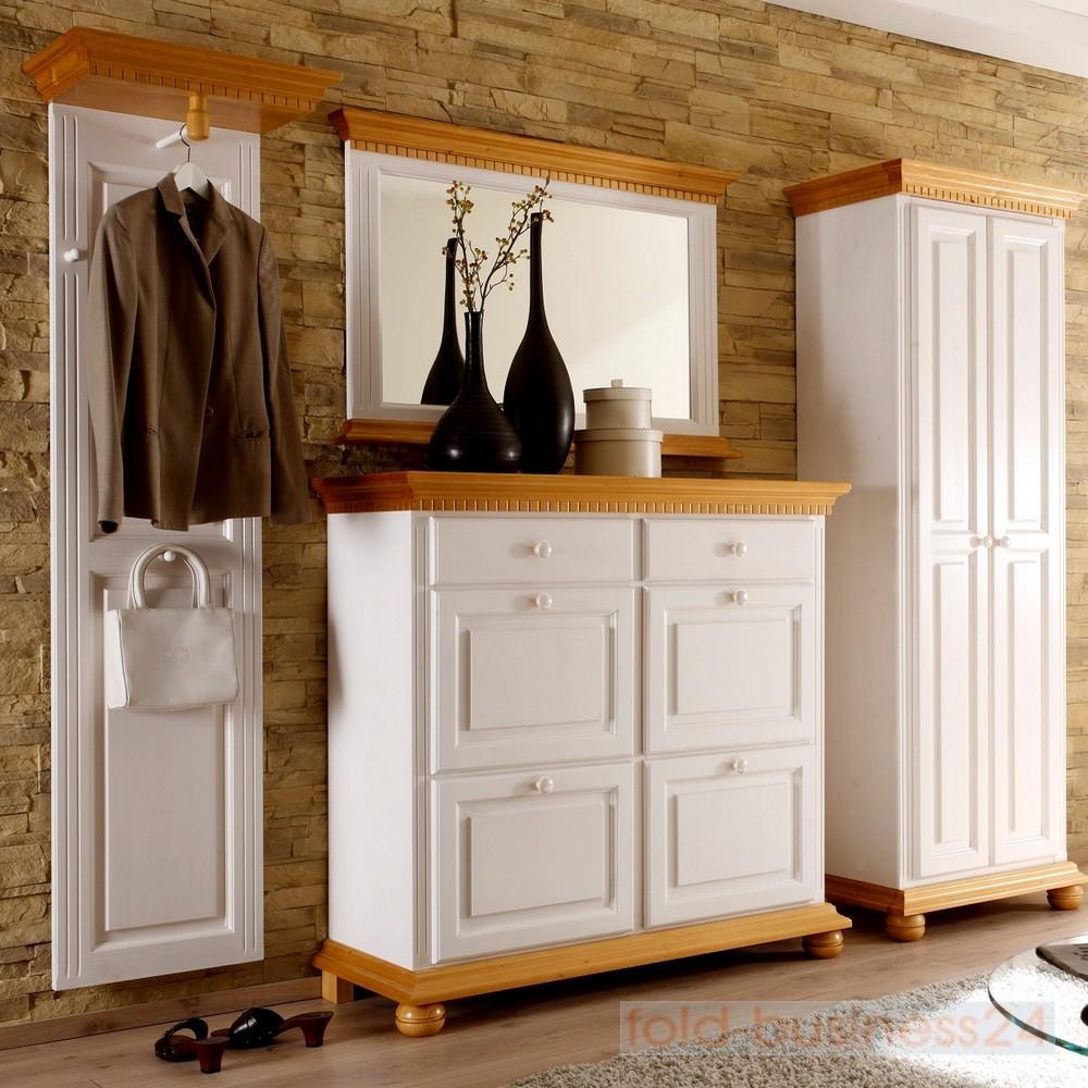 garderobe komplett set 4 tlg dielenm bel fichte massiv wei honig ebay. Black Bedroom Furniture Sets. Home Design Ideas