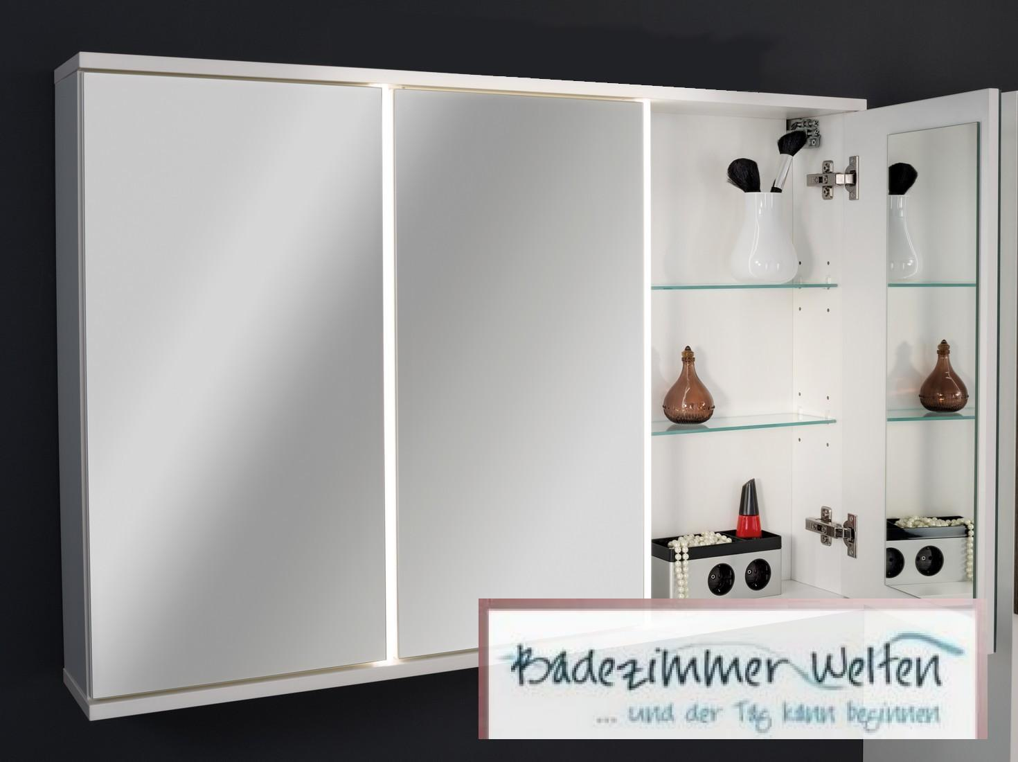 fackelmann spiegelschrank wei mit led 100 cm 3 t ren inklusive sensor ebay. Black Bedroom Furniture Sets. Home Design Ideas
