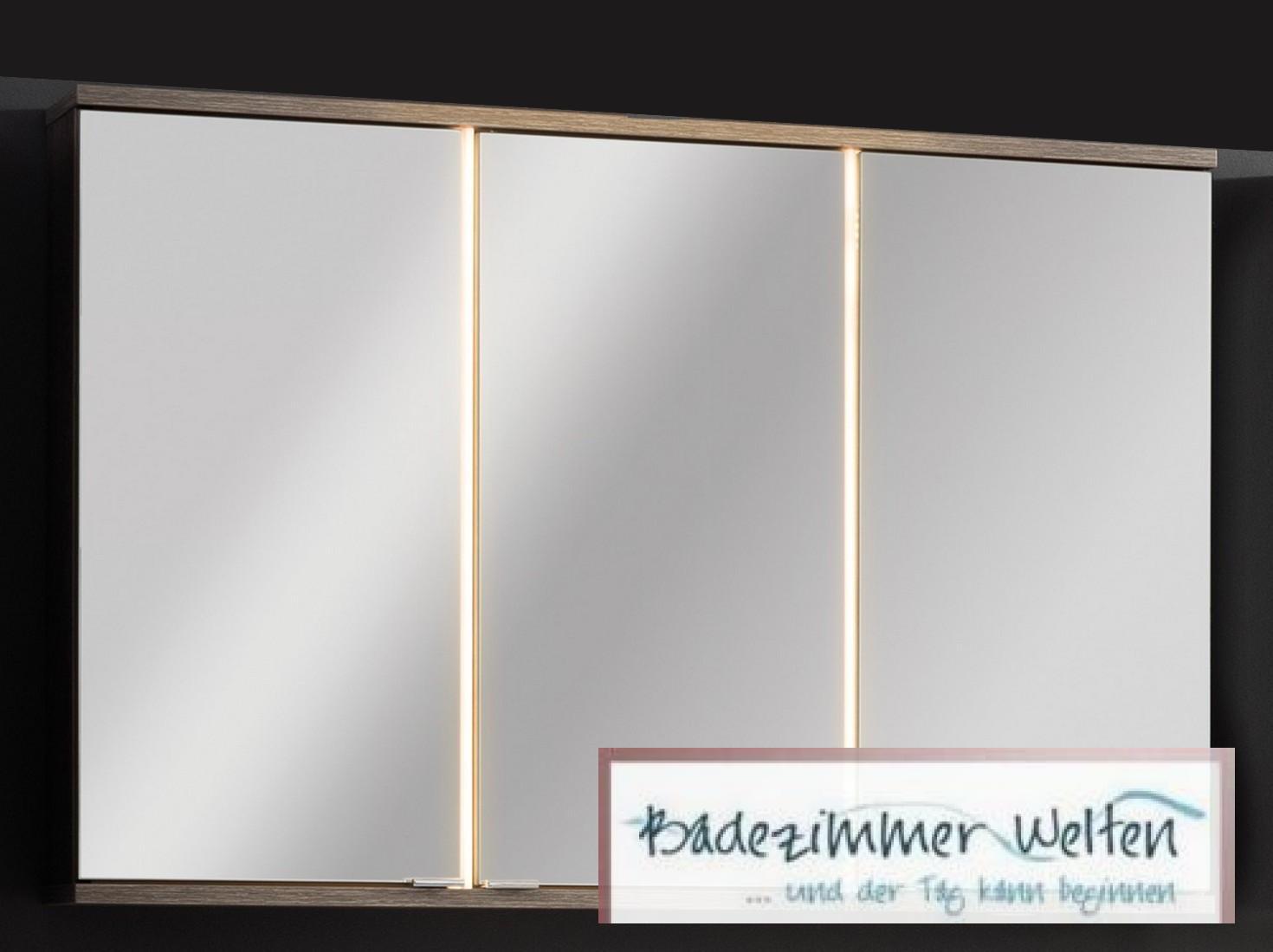 fackelmann spiegelschrank eiche cognac mit led 100 cm 3. Black Bedroom Furniture Sets. Home Design Ideas