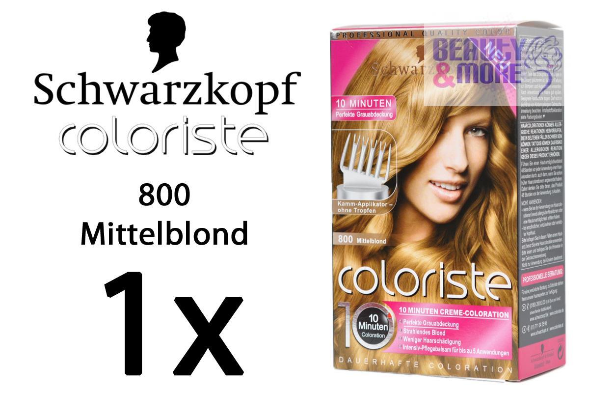 Schwarzkopf coloriste haarfarbe 800 mittelblond ebay for 10 minuten haarfarbe