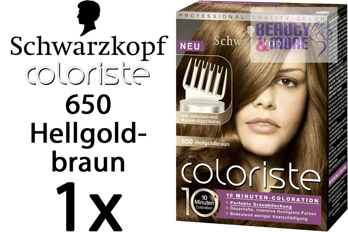 Schwarzkopf coloriste coloration 650 hellgoldbraun ebay - 10 minuten haarfarbe ...