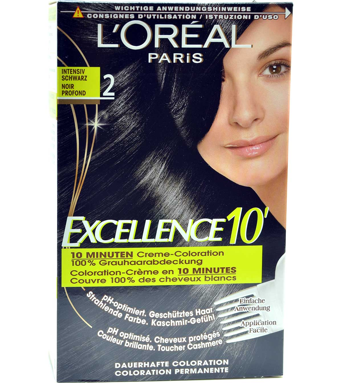 2x loreal excell10 2 0 intensiv schwarz excellence for 10 minuten haarfarbe