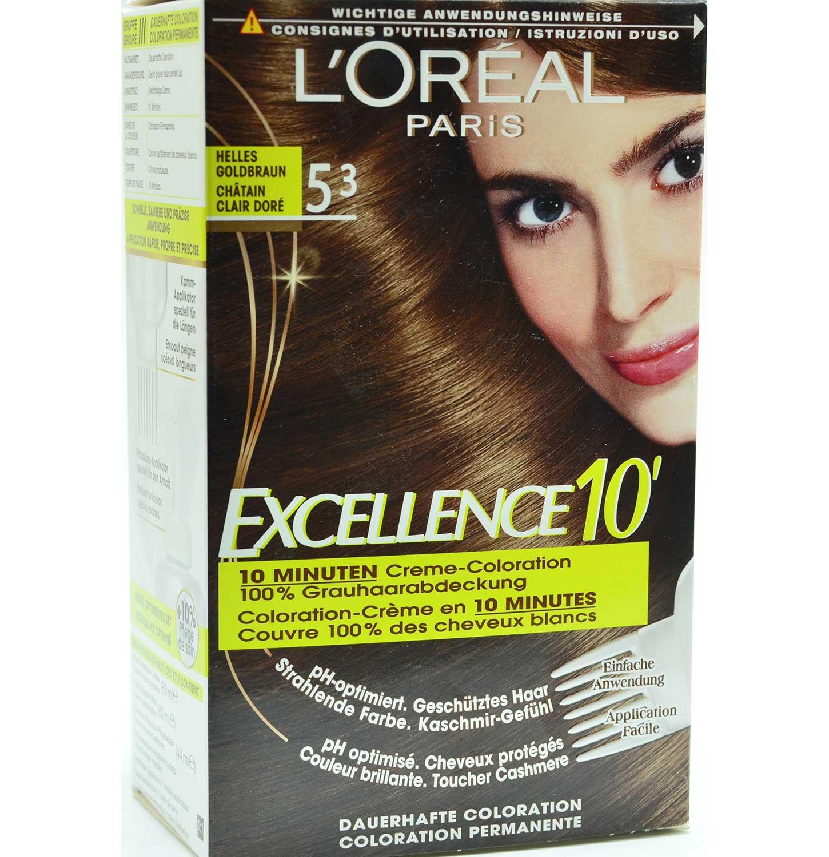 Loreal excellence 5 3 helles goldbraun creme for 10 minuten haarfarbe