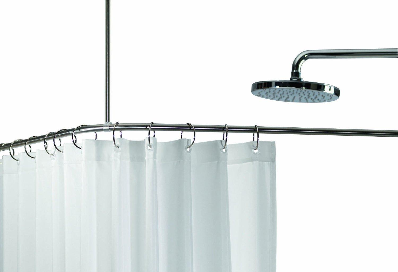 spirella slim eck duschvorhangstange geb rsteter edelstahl 170x75cm durchmess ebay. Black Bedroom Furniture Sets. Home Design Ideas