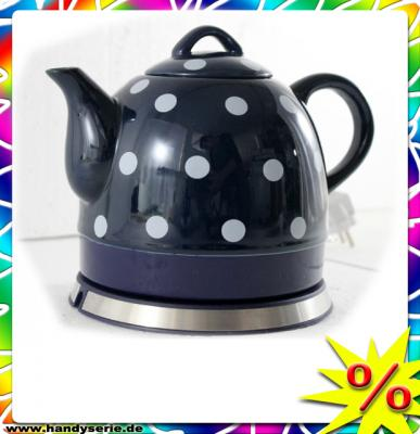 gourmet maxx design keramik wasserkocher teekanne tee kocher mit p nktchen blau ebay. Black Bedroom Furniture Sets. Home Design Ideas