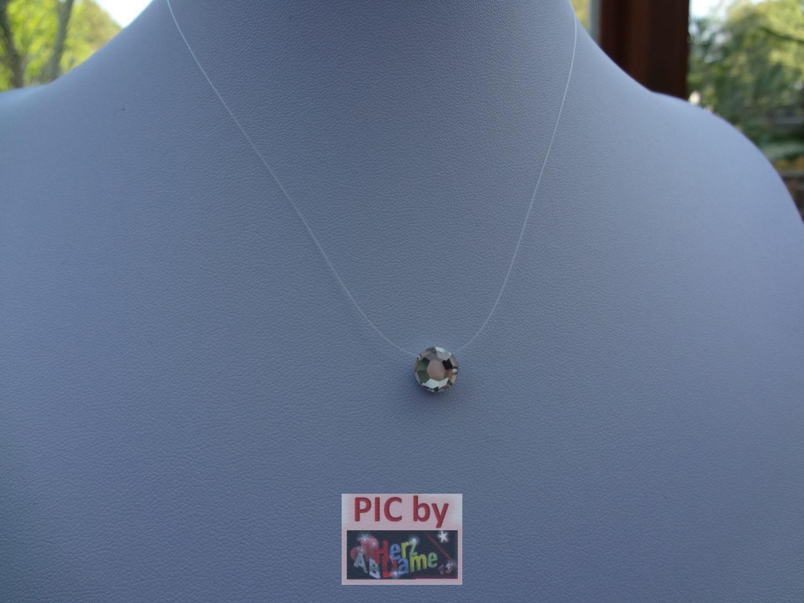 aba7 unsichtbare halskette nylonband kette schwebend strass stein klar flach ebay. Black Bedroom Furniture Sets. Home Design Ideas